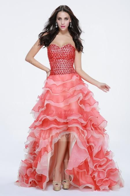 GORGEOUS TIERED RUFFLES BEADING BALL GOWN LONG PROM DRESS