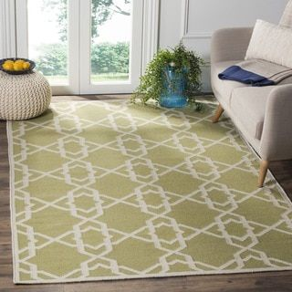 Safavieh Handwoven Moroccan Reversible Dhurrie Green/ Ivory Geometric Wool Rug (8' x 10')   Overstock.com Shopping - The Best Deals on 7x9 - 10x14 Rugs