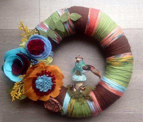 Fall Yarn Wreath Bird Yarn Wreath Yarn Wreath by Lizzyandlois