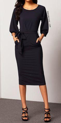Puff Sleeve Belt Chiffon Slim Dress