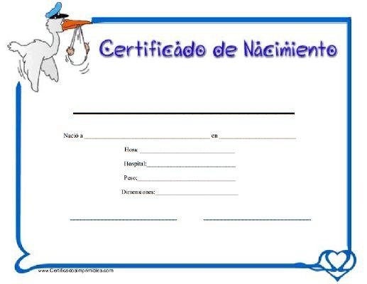 Certificado de Nacimiento para imprimir los certificados, gratis