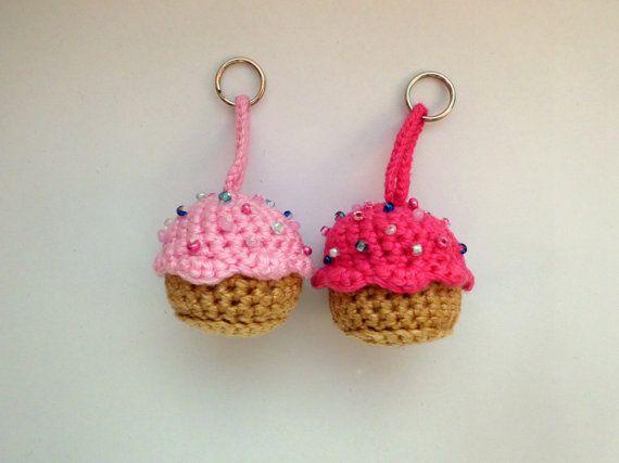Amigurumi Cupcake Keychain : Cupcake keychain mini soft pink sprinkles, housewarming ...