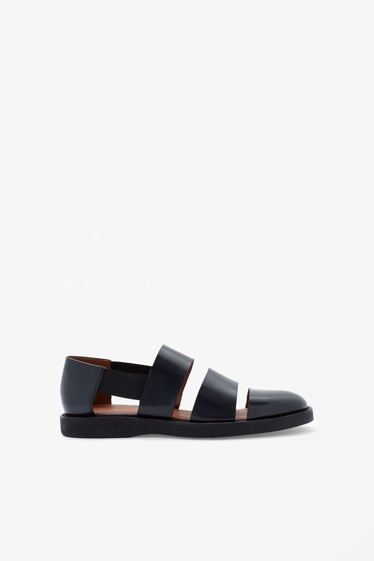Polished leather sandals - Navy - All Articles - COS US