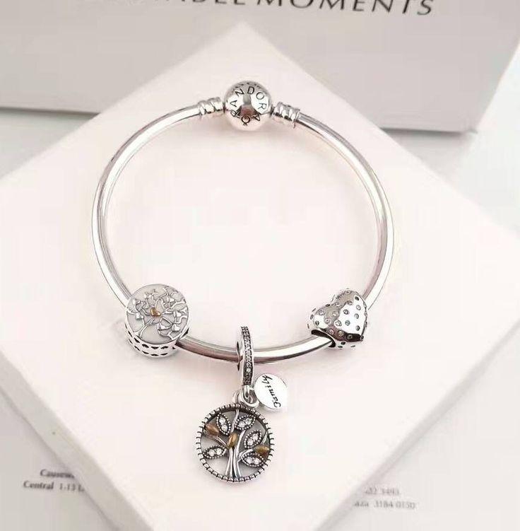 pandora charm bracelet family love tree ,$92 #pandora#charmbracelet#925sterlingsilvercharmbracelet#pendanttree#newpandora#hotselling#europeancharmbracelet