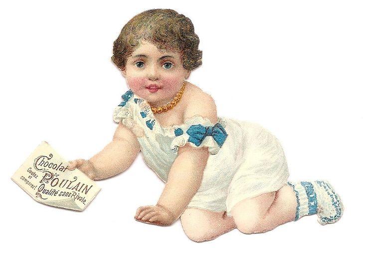 Bébé - Ruban Bleu  Chocolat Poulain  - Chromo Decoupi  Victorian Scrap  Oblaten