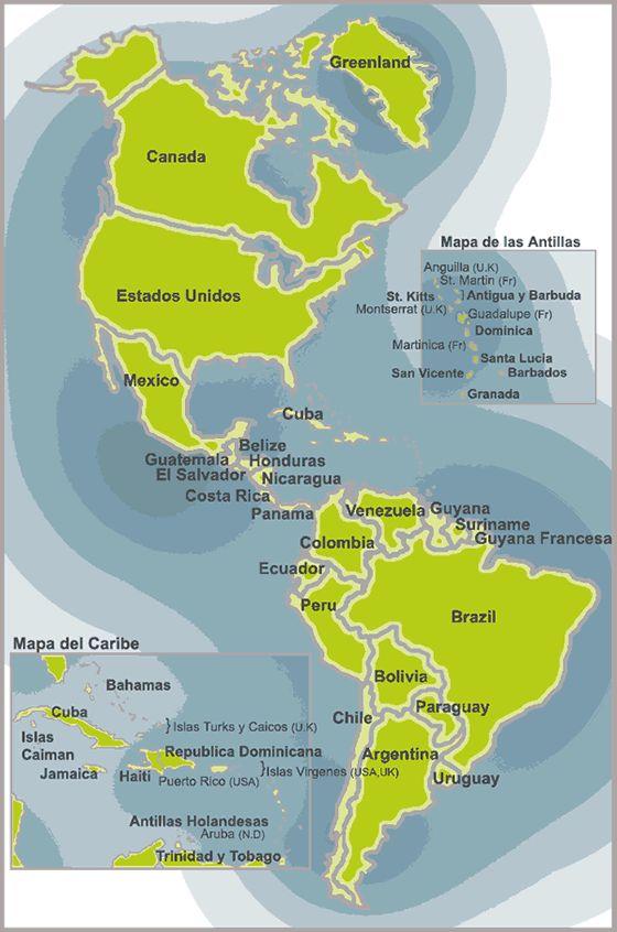 Sesión 4: Paradigma Cognitivo, Ejercicio 2, Mapa continente Americano.