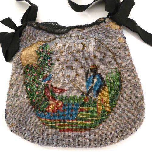 Antique-Vintage-Micro-Beaded-Purse-Bag-Handbag