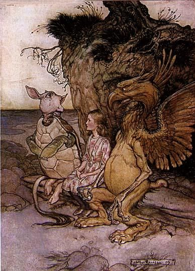 Arthur Rackham, Alice in Wonderland, Griffin Alice & Mock Turtle