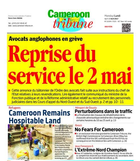 Cameroon-Tribune, édition du 10/4/2017