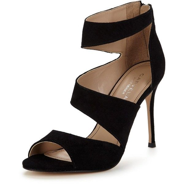 Carvela Gene Cut Out Heeled Sandal found on Polyvore featuring shoes, sandals, heels, strappy sandals, strap sandals, suede sandals, heeled sandals and strappy heeled sandals