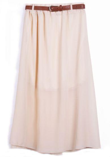 Apricot Belt Waist Chiffon Long Skirt