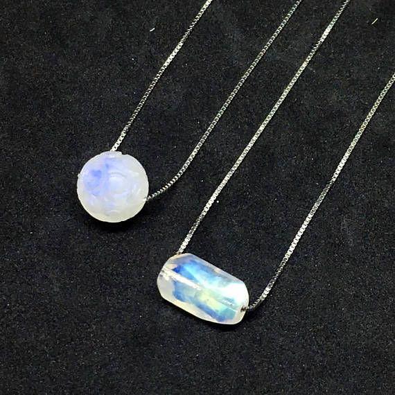AAA Rainbow Moonstone Necklace Blue Moonstone Necklace