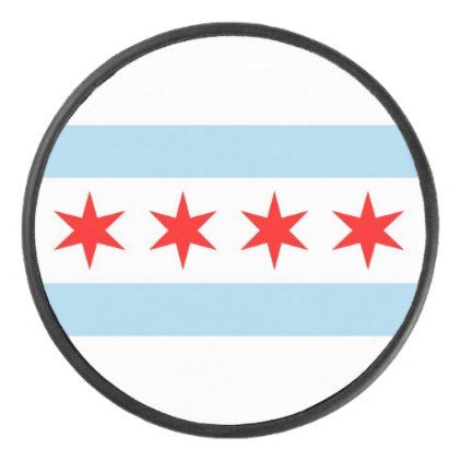 Patriotic hockey puck with flag of Chicago - winter gifts style special unique gift ideas