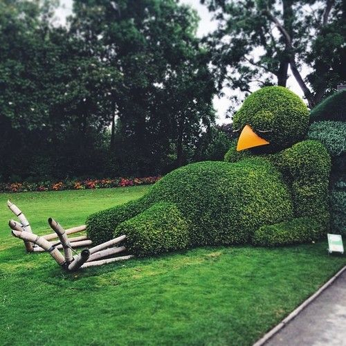 Topiary Sculpture of a Sleeping Baby Bird by Claude Ponti