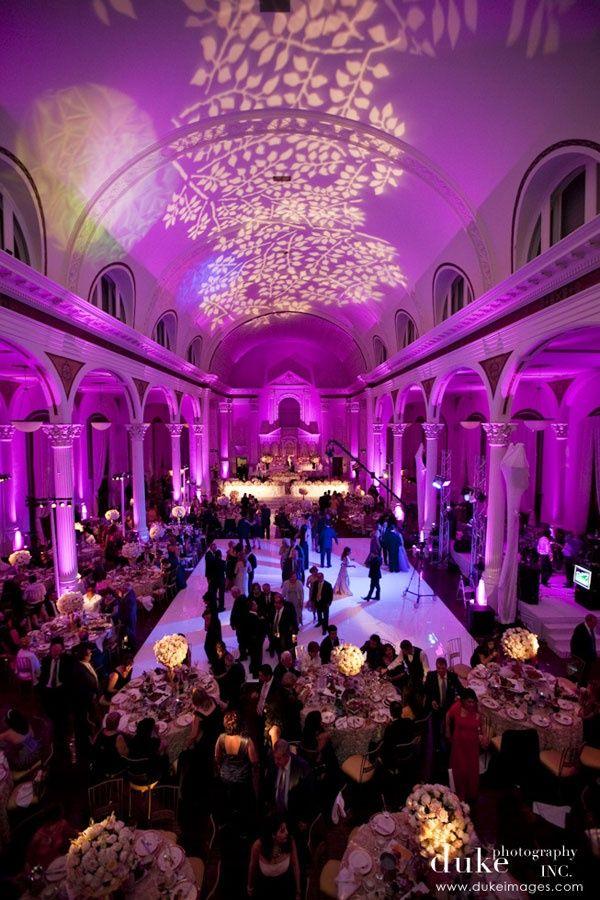fantastic setup with a gobo monogram at this uplighting wedding reception