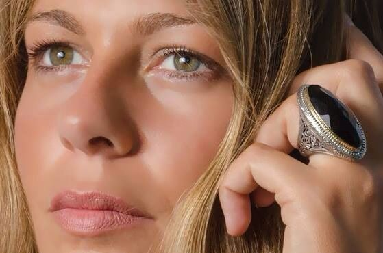 Gerochristo Jewelry. Ring in Sterling silver, gold 18k and black onyx