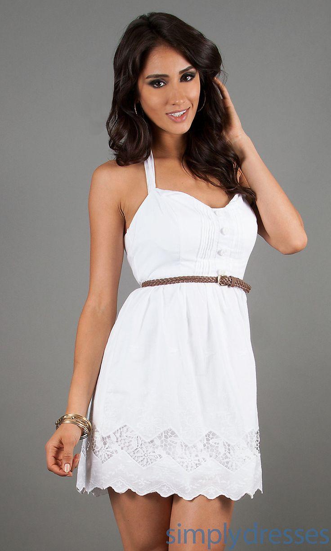 Dress, Short White Casual Halter Dress - Simply Dresses