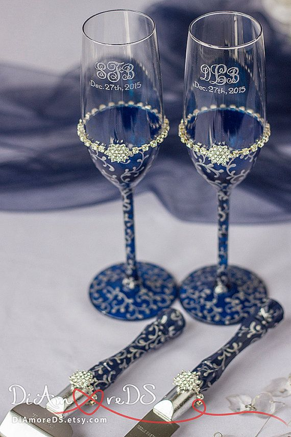 Navy & silver wedding set bride and groom toasting by DiAmoreDS
