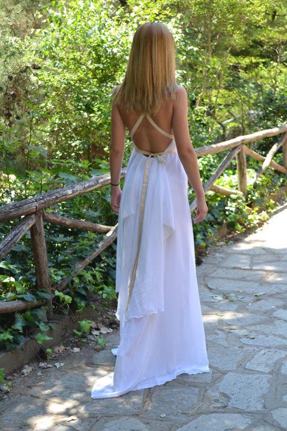 White  Chiffon Maxi Sexy / Grecian Gown / Wedding Dress/Long Wedding Gown - Handmade Gown