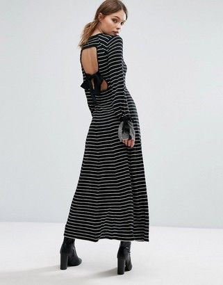 Warehouse Stripe Tie Cuff Maxi Dress