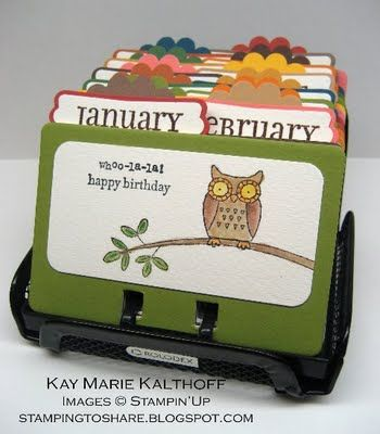 those of you who have been to my house have probably seen my birthday calendar.  mine is not nearly this cute, but i thought it was a genius idea.  i always remember birthdays and make sure to get cards out on time!