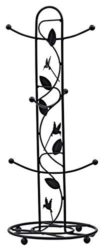 Blue Donuts Bird And Flower Solid Iron Mug Tree In Powder Coated Matte Black, 2015 Amazon Top Rated Dinnerware & Stemware Storage #Home