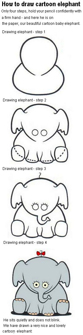 How to draw cartoon elephant