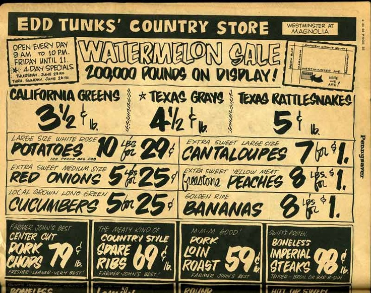 A country store ad from a 1966 Pennysaver.