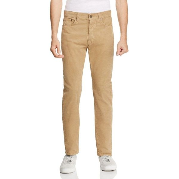 Oobe Brandon Straight Fit Corduroy Pants ($128) ❤ liked on Polyvore featuring men's fashion, men's clothing, men's pants, men's casual pants, dark khaki and mens corduroy pants