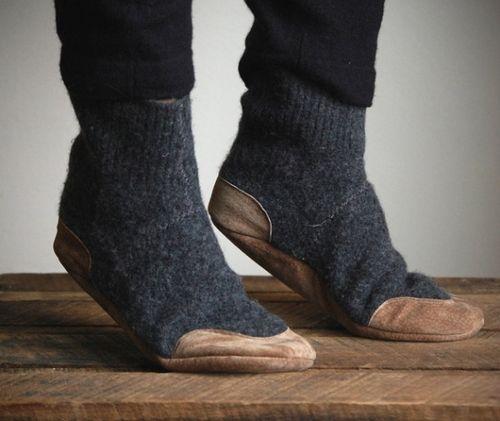 leather footed wool socks.