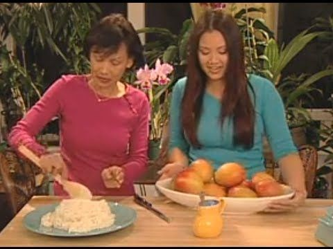 THAI FOOD Sweet Sticky Rice with Mangos - YouTube (Mangy sticky rice)