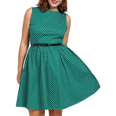 Polka Dot Belted Vintage Swing Dress
