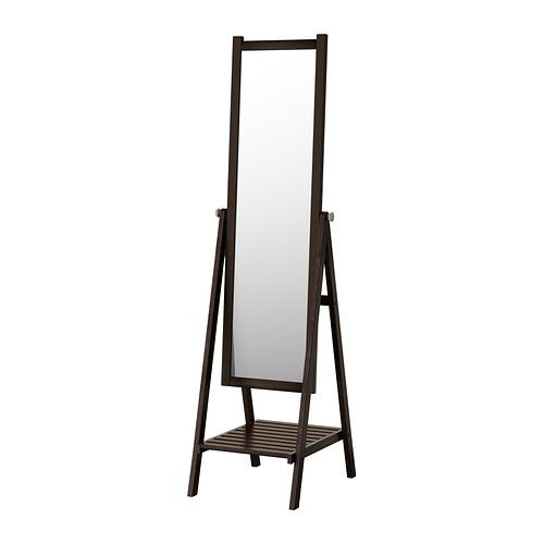 IKEA - ISFJORDEN, Standing mirror, black-brown stain, , Safety film  reduces damage if glass is broken.</t><t>You can hang your belts, bags and accessories from the knobs on the side.</t><t>Can be used in high humidity areas.</t><t>Made of solid wood, which is a durable and warm natural material.
