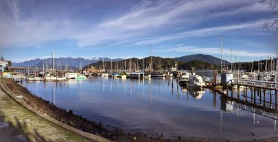 Panoramic view of Gibsons, BC harbor on a beautiful early spring day