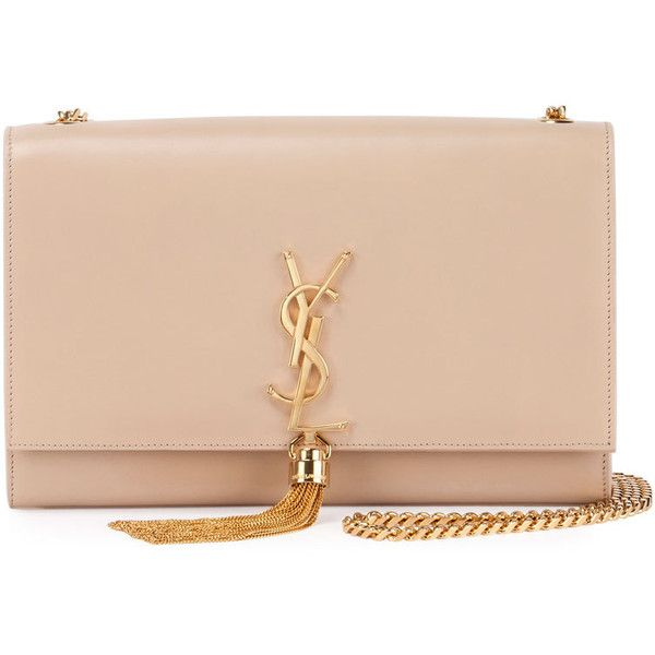Saint Laurent Kate Monogram Medium Leather Tassel Shoulder Bag (€2.070) ❤ liked on Polyvore featuring bags, handbags, shoulder bags, bolsas, clutches, purses, nude, yves saint laurent purse, pink purse and pink handbags