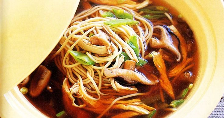 Marvellous mushrooms bathe in this satisfying chicken noodle soup.