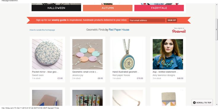 Front page Folksy feature with my geometric themed Pinterest board.