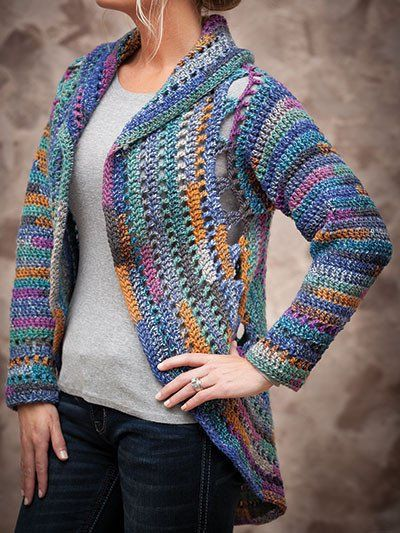 """Perfect for a night out, this lovely jacket will keep the chill off. Made using Universal Yarn Classic Shades Frenzy worsted- #4 weight yarn. Bust size: S/M 43"""""""