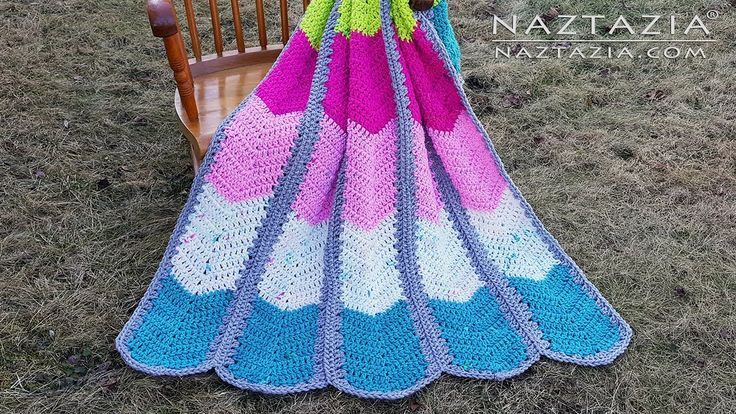 Learn How to Crochet Waterfall Ripple Blanket - Chevron Afghan with Super Bulky Weight Yarn - YouTube