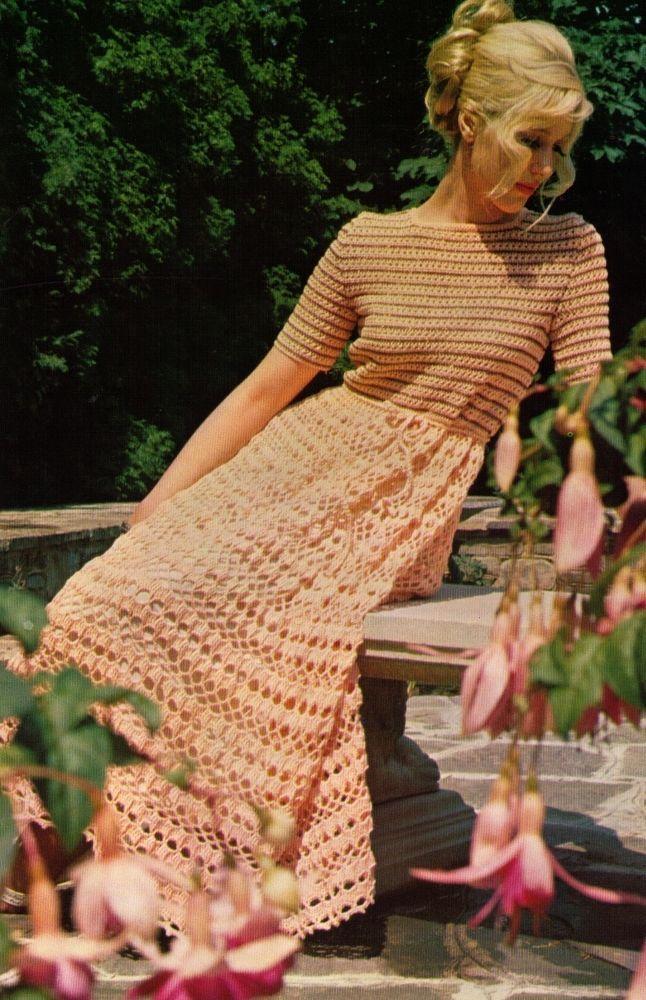 VINTAGE 60S WOMEN SUMMER EVENING LONG DRESS APRICOT 32-38CM 4PLY CROCHET PATTERN