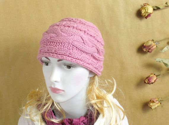 PINK Hand Knit Hat Cloche Hat pink Spring Fall Autumn Winter Accessories Fashion