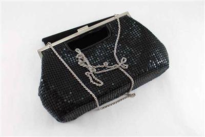 la regale black metal mesh handbag clutch mnec. Black Bedroom Furniture Sets. Home Design Ideas
