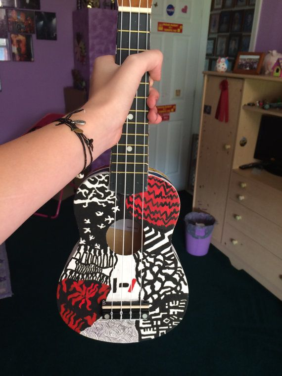 Hand painted Twenty One Pilots ukulele by HaileyDeMarco on Etsy