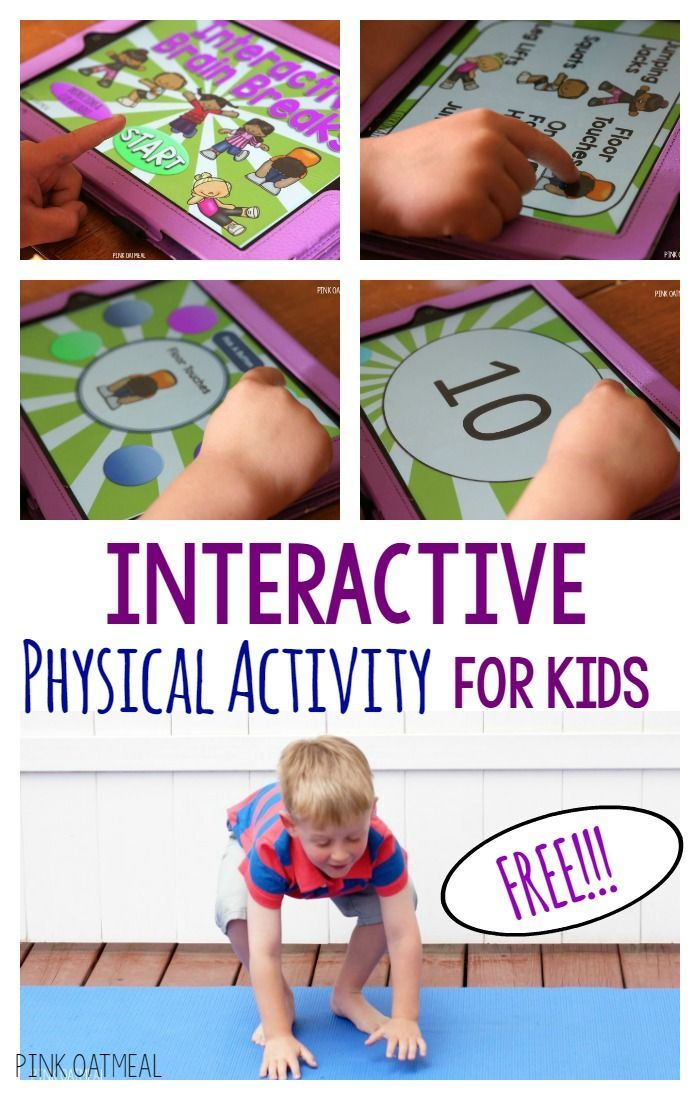 Physical activity for the classroom or home.   Combine technology time with physical activity! Interactive Brain Breaks are a great way to get interactive physical activity in with your kids.  Make their technology active and get in the much needed physic