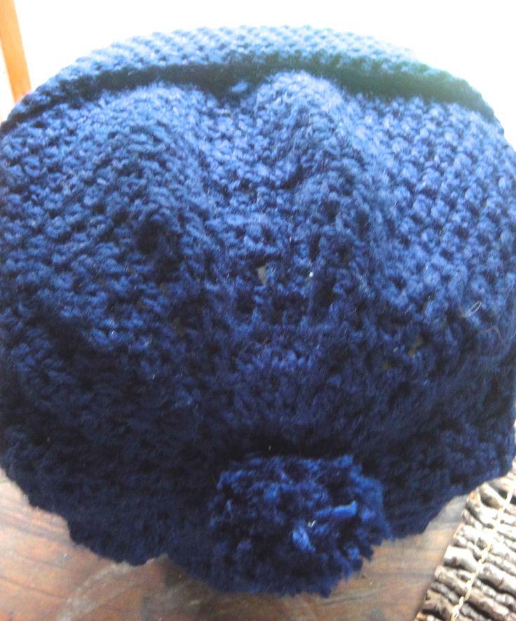 Gorro tejido en lana y crochet punto y medio punto el - Lanas y punto ...