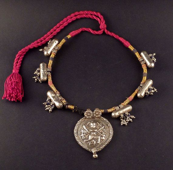 Rajasthan old silver amulet necklace, hindu jewelry, ethnic jewelry, necklace from India - jewellery from Rajasthan, tribal jewellery