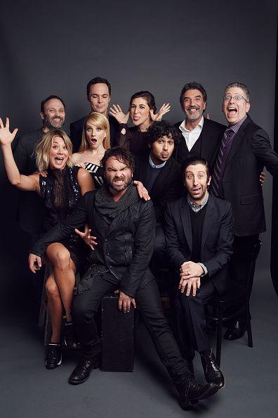 Kaley Cuoco, Johnny Galecki, Melissa Rauch, Kunal Nayyapose, Simon Helberg (back L-R) Steven Molaro, Jim Parsons, Mayim Bialik, Chuck Lorre and Bill Prady of 'The Big Bang Theory' pose for a portrait...