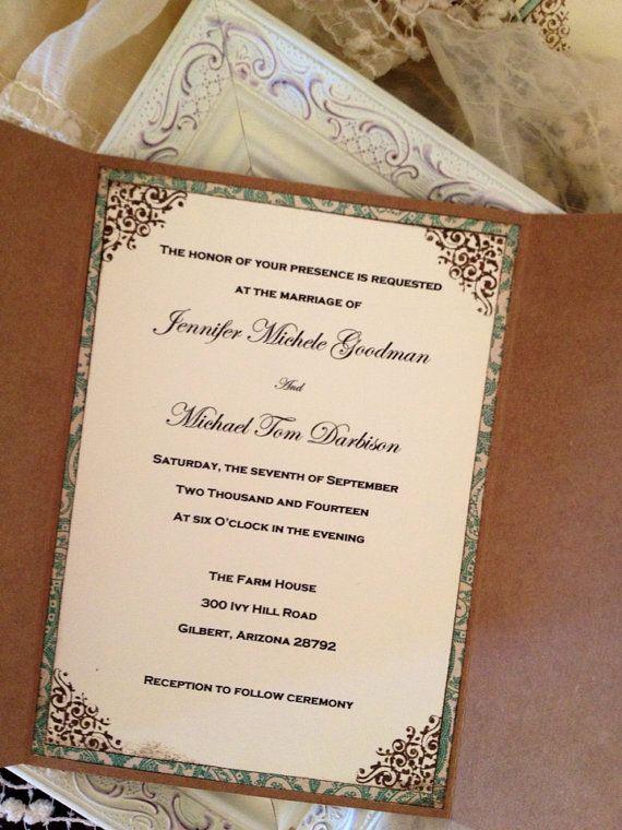 Invitación de boda Shabby Chic del pavo real por JennyPie5 en Etsy