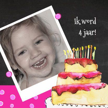 uitnodiging kinderfeest taart - Uitnodigingen - Kaartje2go