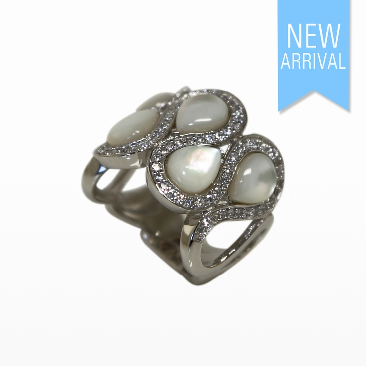 Ring With Drop Cabouchon MOP and CZ set in Silver #Ring #NewArrivals #GinaAdornments